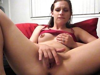 Perky Nips On First-timer Massaging Her Muff