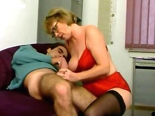 Matures Crimson Satin Underwear Stockings Fucked In The Office