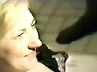 Antique Blonde Cougar Big Black Cock Basement Gang-fuck