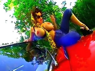 Mad Boys Pin Up Honey Gropes Her Vulva On A Convertible - Bizarre
