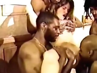 Best Black-haired, Interracial Orgy Vid