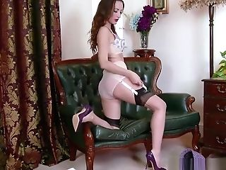 Dark Haired Strips To Sheer Nylons High-heeled Shoes Flashing Trimmed Coochie