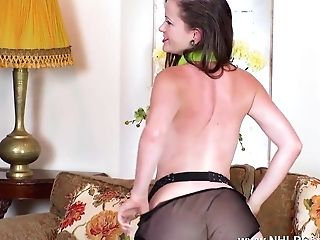 Black-haired Strips Off Retro Underwear And Wanks In High-heeled Shoes Nylons