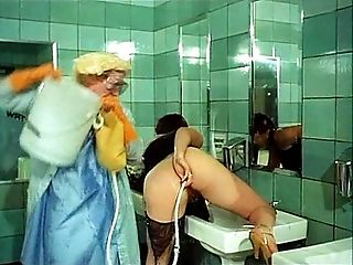 Old school Enema in Club's Bathroom