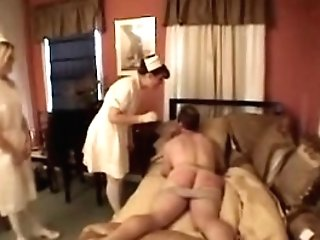 Authoritative nurses fuck their patient with a plaything