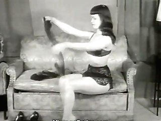 Dark Haired Beauty Tempts In Hip Highs (1950s Antique)