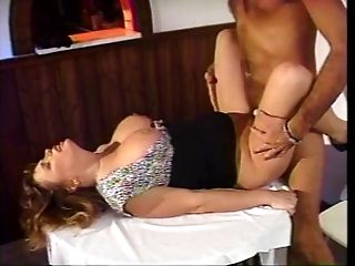 Big-boobed superslut deep-throats, gets fucked and gives boob fucking