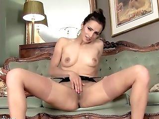 Hot Dark Haired Masturbates In Leopard Stilettos And Antique Nylons