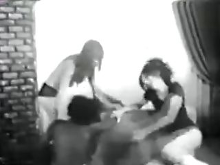 Antique Black Mistress Spanking Two Milky Nymphs