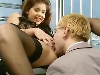 Super-cute German brown-haired in stockings gets fucked in both fuckholes