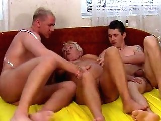 Chesty Blonde Granny Loves Threesome Fucking