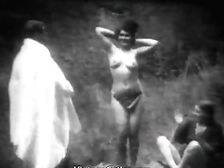 Damsels Naked Dancing For An Old Man In Forest (1910s Antique)