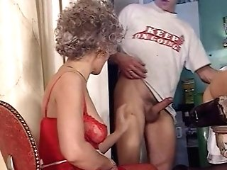 Youthfull Stud Banging Two Old Ladies In The Bum