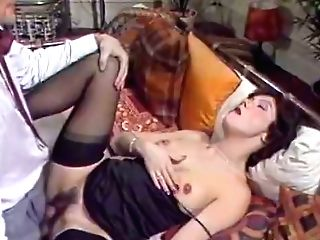 Whorish Brown-haired In Black Stockings Gets Fucked In Rear End Position