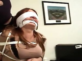 Tethered Ball-gagged Blinded Cock-squeezing