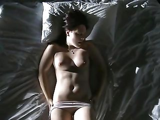 Wonderful 90s Brown-haired Stunner Gently Fondles Bra-stuffers And Masturbates Twat