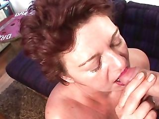 Antique Ginger-haired Cougar Excites From Hairy Coochie Getting Off Before Doing Deep Throat