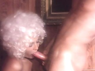 Curly-haired Antique Cutie Gargles Fat Pulsating Pecker