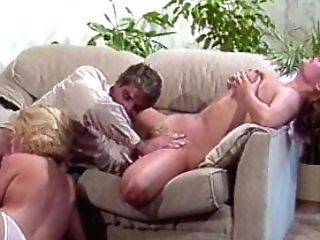 Two Hot Blondes Share A Man Rod