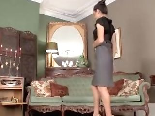 Hot Dark Haired Chelsea French Strips Off And Masturbates In Stunning Leopard Print High-heeled Slippers And In Antique Nylons With A Sheer Garter Bel