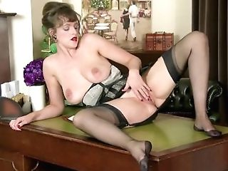 Big-titted Natural Black-haired Kate Anne Wanks In Antique Nylon Stockings