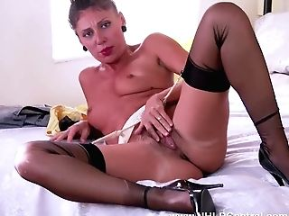 Sexy French Mummy Chloe Is Horny In The Bedroom Unwrapping Down To Her Gartered Nylons Antique And Masturbates Hairy Humid Cooch