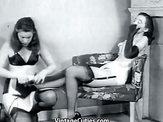 Lady In A Taut Corset And Black Stockings Is In A Lusty Kink Make-out With Her Sexy Made