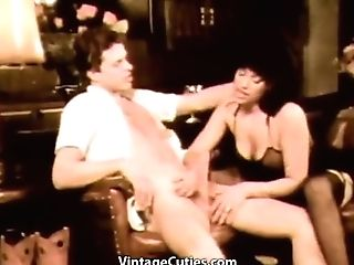 This Black-haired Mega-bitch Lifts Her Mini-skirt And Takes His Stiff Fuck-stick In Her Hairy Snatch