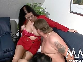 Black-haired Bitch With Thick Tits Watching Matures Dude With Moustaches Doggystyling His Wifey