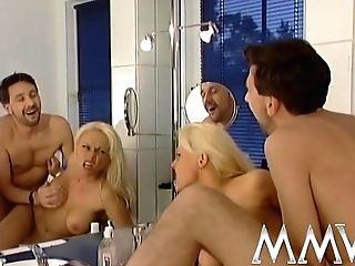 Big-titted Blonde Cougar Railing A Prick Rearwards In The Bathroom