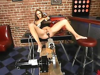 Brown-haired Lady In Black Gets Dual Penetrated By Her Machines