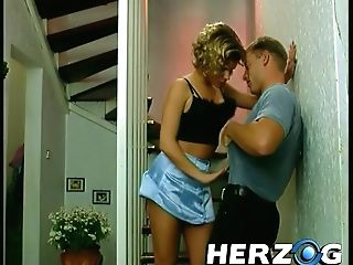 Curvy Blonde Cougar With Smooth-shaven Twat From Retro Porno Draping Out With Three Studs