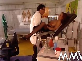 Lustful Doc In Glasses Treating Hot Brown-haired Patient In Stockings From Behind