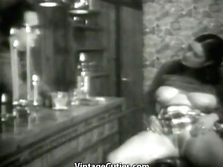 This Chubby Whore, With Big Tits, Gets Pounded By The Bartender