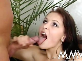 Hot Brown-haired Retro Chick With Petite Tits Takes Facial Cumshot After Drilling In Various Poses