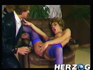 Blonde Sweetheart From 70s With Natural Tits In Blue Nylons Gets Pounded In Various Poses