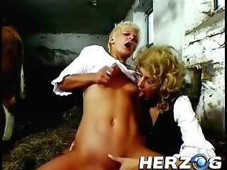 Two Blonde Whores Sharing A Dick And Dark Haired Tart With Natural Titties Fellating Dude Before Hard Fuck