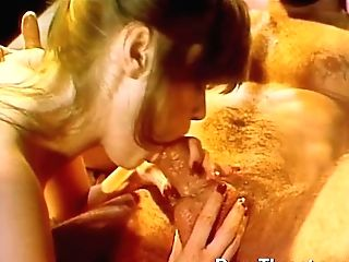 Dude With Giant Dong Drilling Hotty In Rear End Style And Awesome Retro Orgy