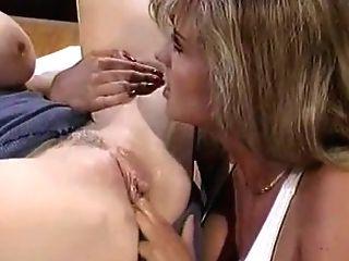 Two Buxomy Girl/girl Blondes Intense Carpet Munching In The Office