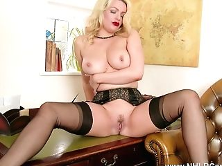 Buxom Blonde Strips Down To Underwear Sheer Antique Nylons