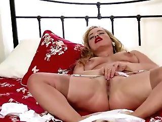 Blonde Cougar Olga Cabaeva Strips Retro Undergarments Antique Nylons Frigs Puss